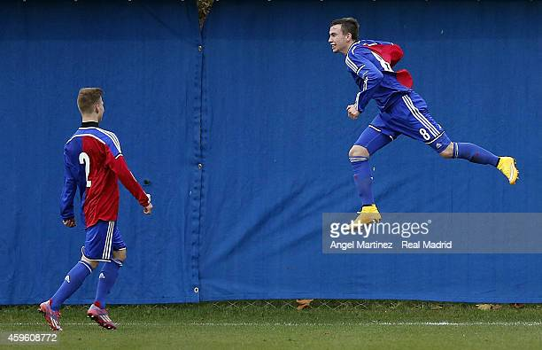 Robin Huser of FC Basel 1893 celebrates with Tobias Mumenthaler after scoring during the UEFA Youth League match between FC Basel 1893 and Real...
