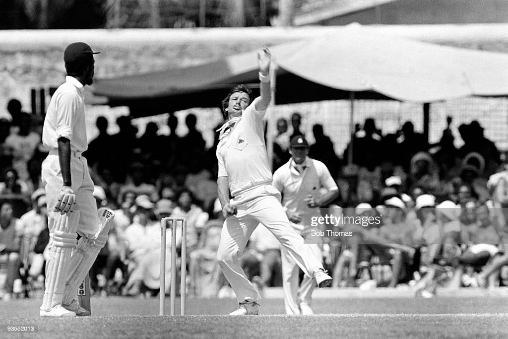 Robin Jackman of England bowling during the third day of the 3rd West Indies v England Test Match played at the Kensington Oval Bridgetown Barbados...