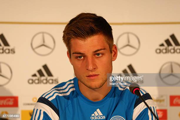 Robin Knoche of Germany reacts during a press conference ahead of the EURO 2015 Group A match against Serbia at NH Hotel Prague on June 14 2015 in...