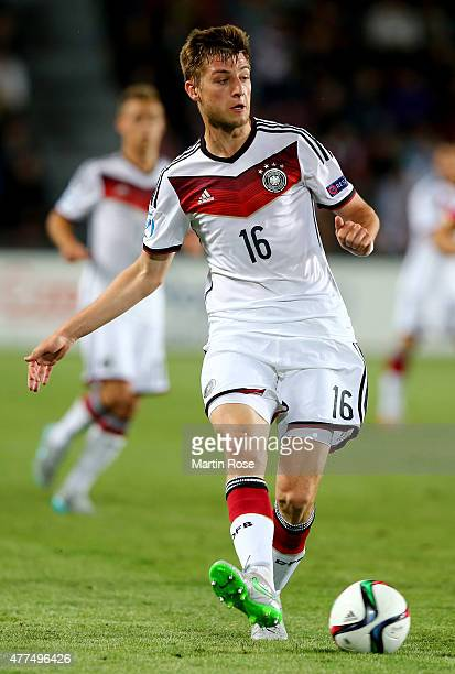 Robin Knoche of Germany runs with the ball during the UEFA European Under21 Group A match between Germany and Serbia at Letna Stadium on June 17 2015...