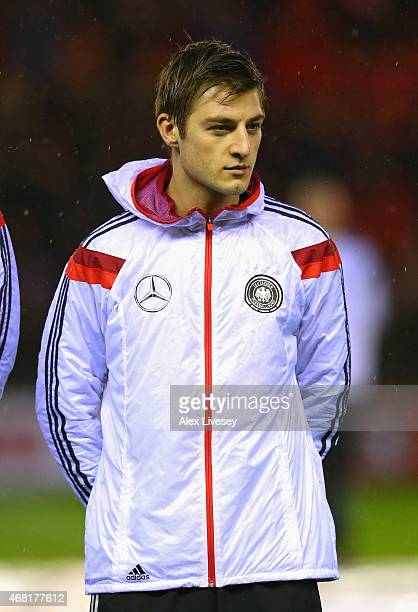 Robin Knoche of U21 Germany lines up prior to the International Friendly match between U21 England and U21 Germany at the Riverside Stadium on March...