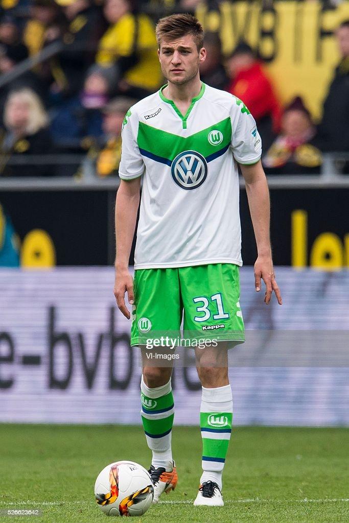 Robin Knoche of VFL Wolfsburg during the Bundesliga match between Borussia Dortmund and VfL Wolfsburg on April 30, 2016 at the Signal Idun Park stadium in Dortmund, Germany.