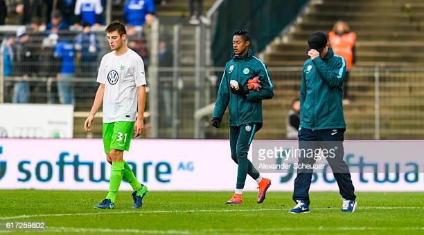 Robin Knoche of VfL Wolfsburg is disappointed during the Bundesliga match between SV Darmstadt 98 and VfL Wolfsburg at Stadion am Boellenfalltor on...