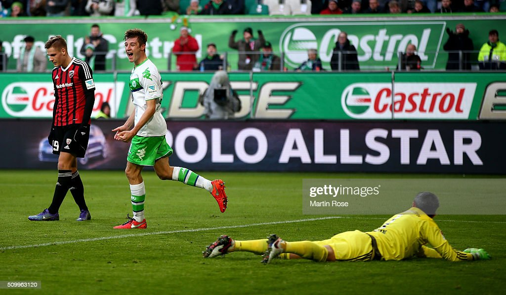 Robin Knoche of Wolfsburg celebrates after scoring the 2nd goal during the Bundesliga match between VfL Wolfsburg and FC Ingolstadt at Volkswagen Arena on February 13, 2016 in Wolfsburg, Germany.