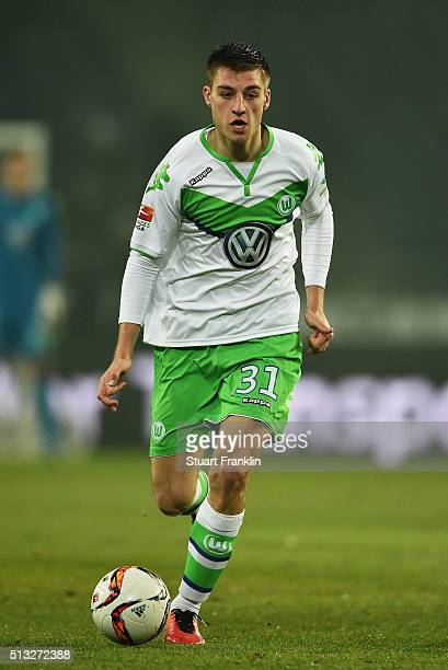 Robin Knoche of Wolfsburg in action during the Bundesliga match between Hannover 96 and VfL Wolfsburg at HDIArena on March 1 2016 in Hanover Germany