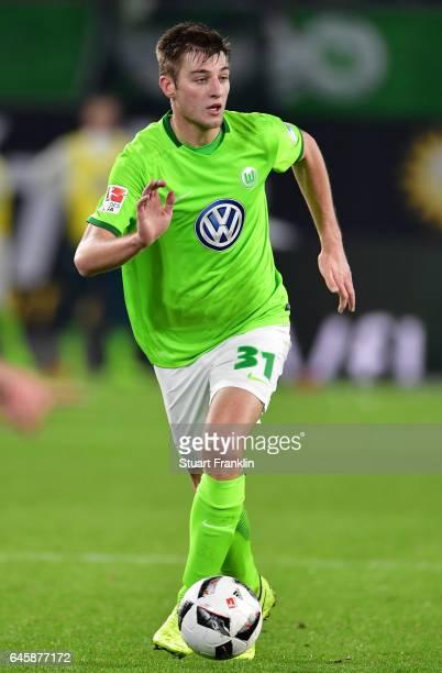 Robin Knoche of Wolfsburg in action during the Bundesliga match between VfL Wolfsburg and Werder Bremen at Volkswagen Arena on February 24 2017 in...