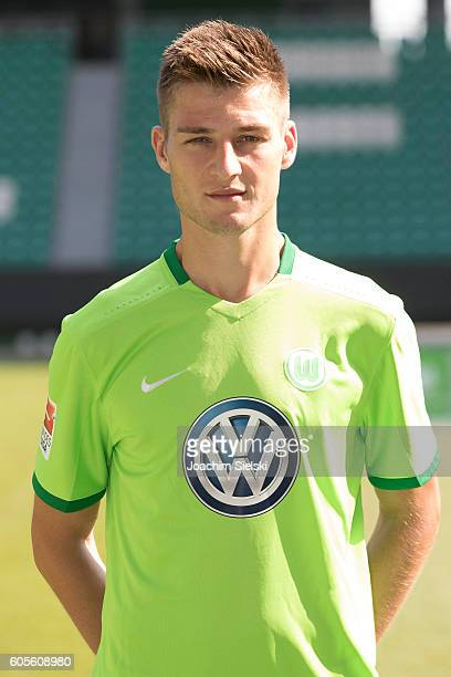 Robin Knoche poses during the official team presentation of VfL Wolfsburg at Volkswagen Arena on September 14 2016 in Wolfsburg Germany