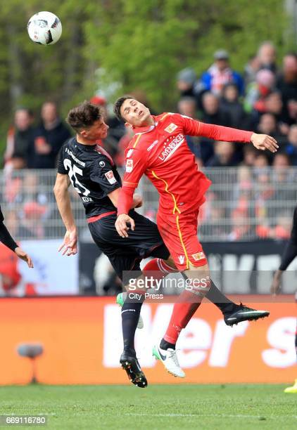 Robin Koch of 1 FC Kaiserslautern and Damir Kreilach of 1 FC Union Berlin during the game between 1 FC Union Berlin and 1 FC Kaiserslautern on april...