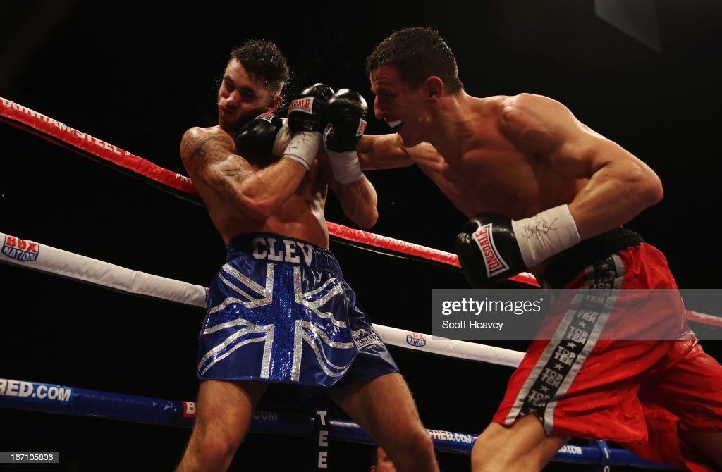 Robin Krasniqi (R) connects with a punch against <a gi-track='captionPersonalityLinkClicked' href=/galleries/search?phrase=Nathan+Cleverly&family=editorial&specificpeople=5152922 ng-click='$event.stopPropagation()'>Nathan Cleverly</a> during their WBO World Light-Heavyweight Championship bout at Wembley Arena on April 20, 2013 in London, England.