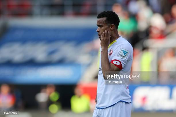 Robin Kwamina Quaison of Mainz looks dejected after the Bundesliga match between FC Ingolstadt 04 and 1 FSV Mainz 05 at Audi Sportpark on April 2...