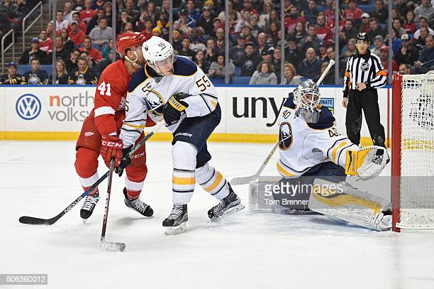 Robin Lehner of the Buffalo Sabres attempts to make a save during the game against the Detroit Red Wings on Friday January 22 2016 at the First...