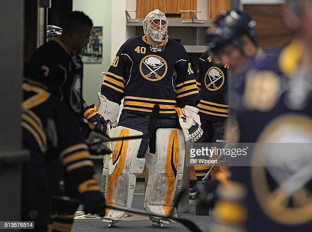 Robin Lehner of the Buffalo Sabres heads to the ice to play the Calgary Flames in an NHL game on March 3 2016 at the First Niagara Center in Buffalo...