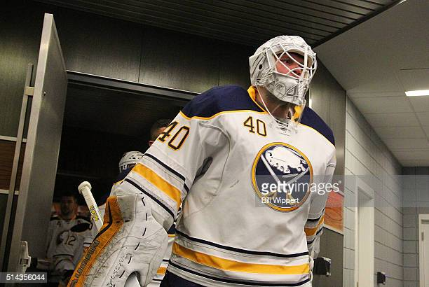 Robin Lehner of the Buffalo Sabres heads to the ice to play the New York Rangers in an NHL game on March 8 2016 at the First Niagara Center in...