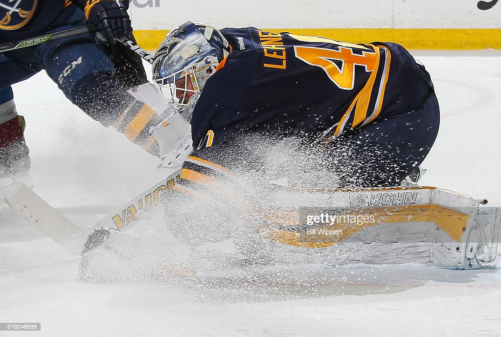 <a gi-track='captionPersonalityLinkClicked' href=/galleries/search?phrase=Robin+Lehner&family=editorial&specificpeople=5894610 ng-click='$event.stopPropagation()'>Robin Lehner</a> #40 of the Buffalo Sabres looks to cover up the puck against the Colorado Avalanche during an NHL game on February 14, 2016 at the First Niagara Center in Buffalo, New York.