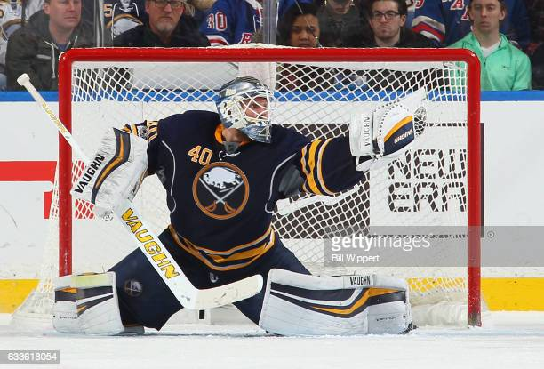 Robin Lehner of the Buffalo Sabres makes a glove save against the New York Rangers during an NHL game at the KeyBank Center on February 2 2017 in...