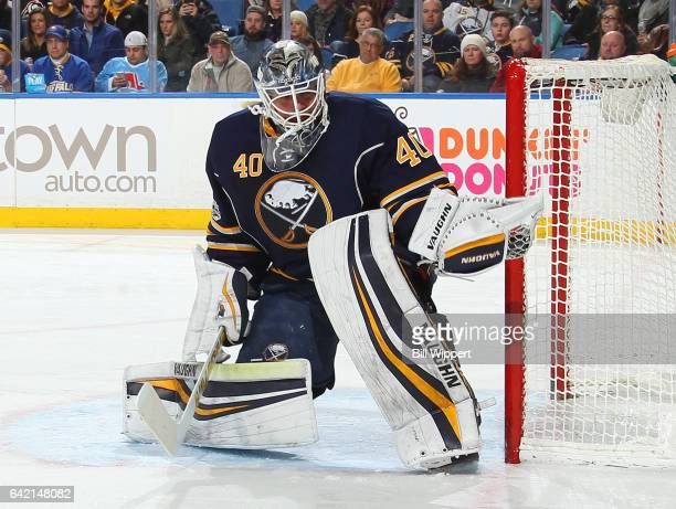 Robin Lehner of the Buffalo Sabres makes a second period glove save against the Colorado Avalanche during an NHL game at the KeyBank Center on...