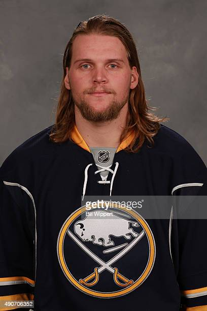 Robin Lehner of the Buffalo Sabres poses for his official headshot for the 20152016 season on September 17 2015 at the First Niagara Center in...