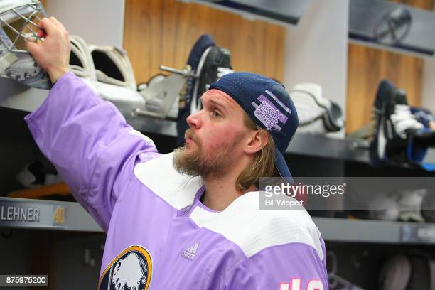 Robin Lehner of the Buffalo Sabres prepares to take the ice on Hockey Fights Cancer Night before an NHL game against the Carolina Hurricanes on...