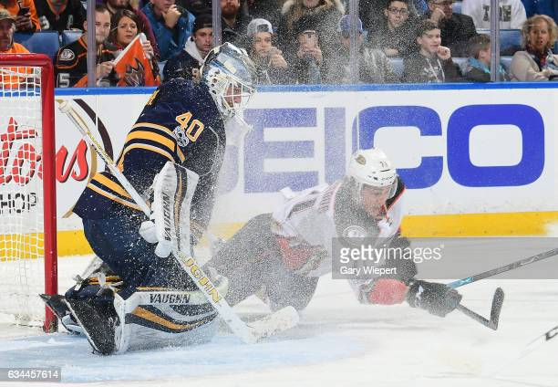 Robin Lehner of the Buffalo Sabres stops a scoring chance by Brandon Montour during an NHL game at the KeyBank Center on February 9 2017 in Buffalo...