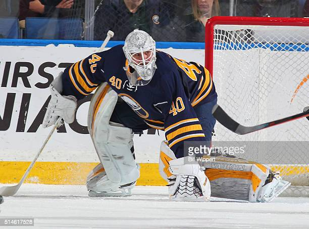 Robin Lehner of the Buffalo Sabres tends goal against the Calgary Flames during an NHL game on March 3 2016 at the First Niagara Center in Buffalo...