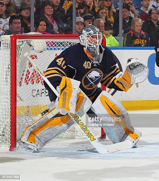 Robin Lehner of the Buffalo Sabres tends goal against the Colorado Avalanche during an NHL game on February 14 2016 at the First Niagara Center in...