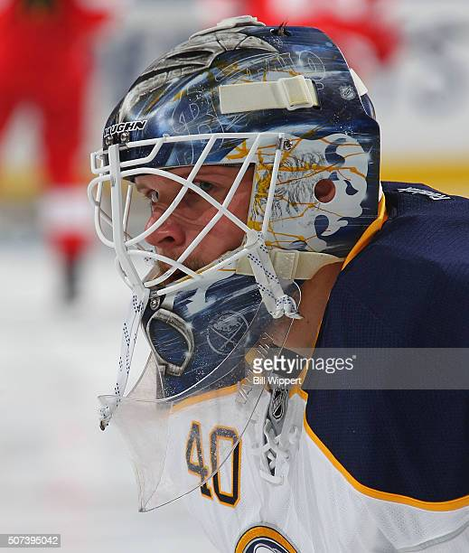 Robin Lehner of the Buffalo Sabres tends goal against the Detroit Red Wings during an NHL game on January 22 2016 at the First Niagara Center in...