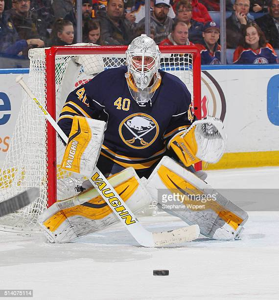 Robin Lehner of the Buffalo Sabres tends goal against the Edmonton Oilers during an NHL game on March 1 2016 at the First Niagara Center in Buffalo...
