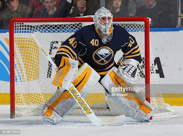 Robin Lehner of the Buffalo Sabres tends goal against the Minnesota Wild during an NHL game on March 5 2016 at the First Niagara Center in Buffalo...