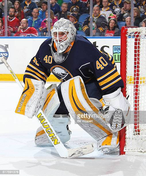 Robin Lehner of the Buffalo Sabres tends goal against the Montreal Canadiens during an NHL game on March 16 2016 at the First Niagara Center in...