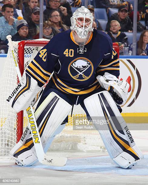 Robin Lehner of the Buffalo Sabres tends goal against the Tampa Bay Lightning during an NHL game at the KeyBank Center on November 17 2016 in Buffalo...