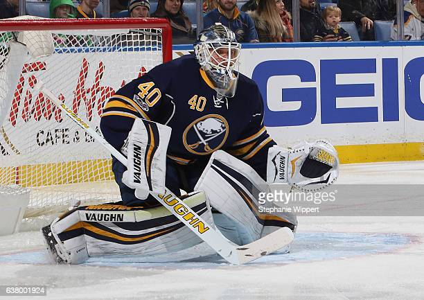 Robin Lehner of the Buffalo Sabres tends goal against the Winnipeg Jets during an NHL game at the KeyBank Center on January 7 2017 in Buffalo New York