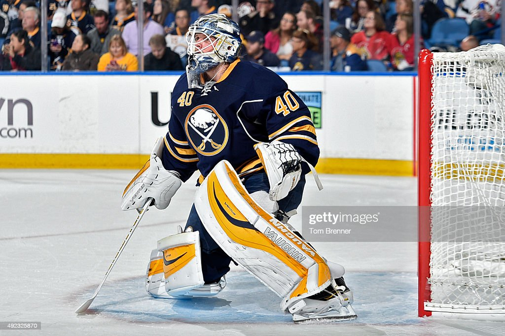 <a gi-track='captionPersonalityLinkClicked' href=/galleries/search?phrase=Robin+Lehner&family=editorial&specificpeople=5894610 ng-click='$event.stopPropagation()'>Robin Lehner</a> #40 of the Buffalo Sabres tends net during the game against the Ottawa Senators at the First Niagara Center on October 8, 2015 in Buffalo, New York.