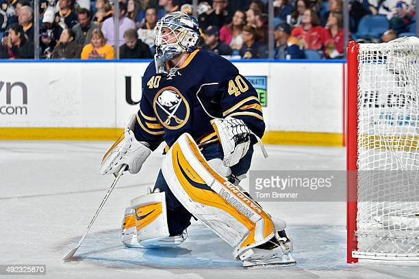 Robin Lehner of the Buffalo Sabres tends net during the game against the Ottawa Senators at the First Niagara Center on October 8 2015 in Buffalo New...