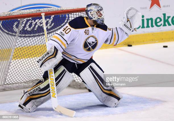 Robin Lehner of the Buffalo Sabres warms up during a game against the Florida Panthers at BBT Center on April 8 2017 in Sunrise Florida