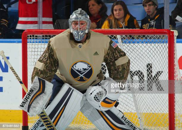 Robin Lehner of the Buffalo Sabres warms up in a special jersey on Military Appreciation Night before an NHL game against the Florida Panthers on...