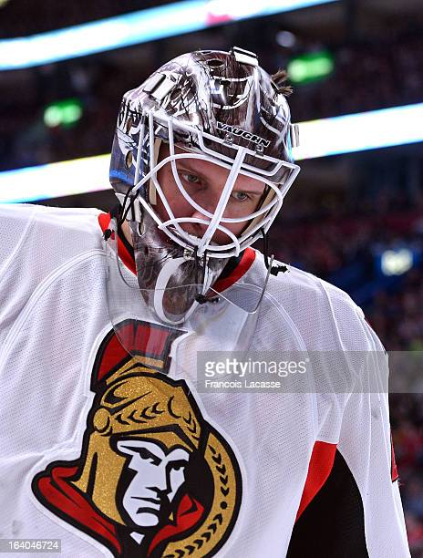 Robin Lehner of the Ottawa Senators during the NHL game against the Montreal Canadiens on March 13 2013 at the Bell Centre in Montreal Quebec Canada