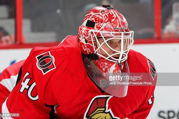 Robin Lehner of the Ottawa Senators follows the play against the Edmonton Oilers at Canadian Tire Centre on February 14 2015 in Ottawa Ontario Canada
