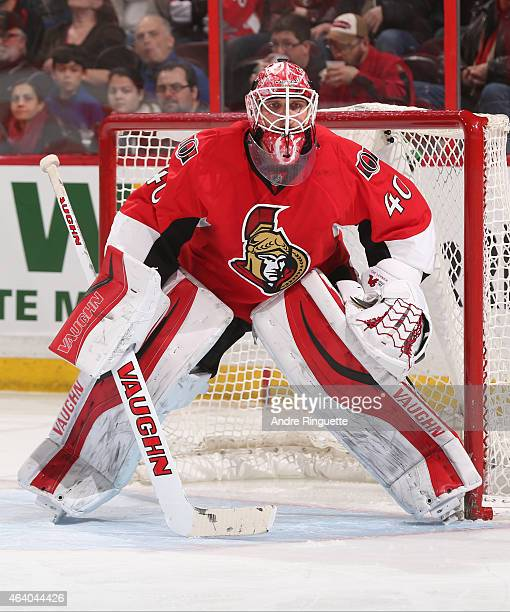 Robin Lehner of the Ottawa Senators guards his net against the Carolina Hurricanes at Canadian Tire Centre on February 16 2015 in Ottawa Ontario...