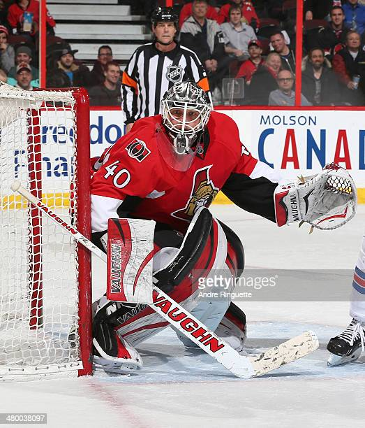 Robin Lehner of the Ottawa Senators guards his net against the New York Rangers at Canadian Tire Centre on March 18 2014 in Ottawa Ontario Canada