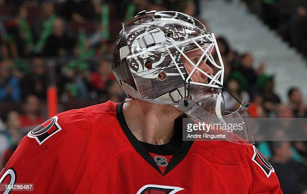 Robin Lehner of the Ottawa Senators looks on during a stoppage in play against the Winnipeg Jets on March 17 2013 at Scotiabank Place in Ottawa...