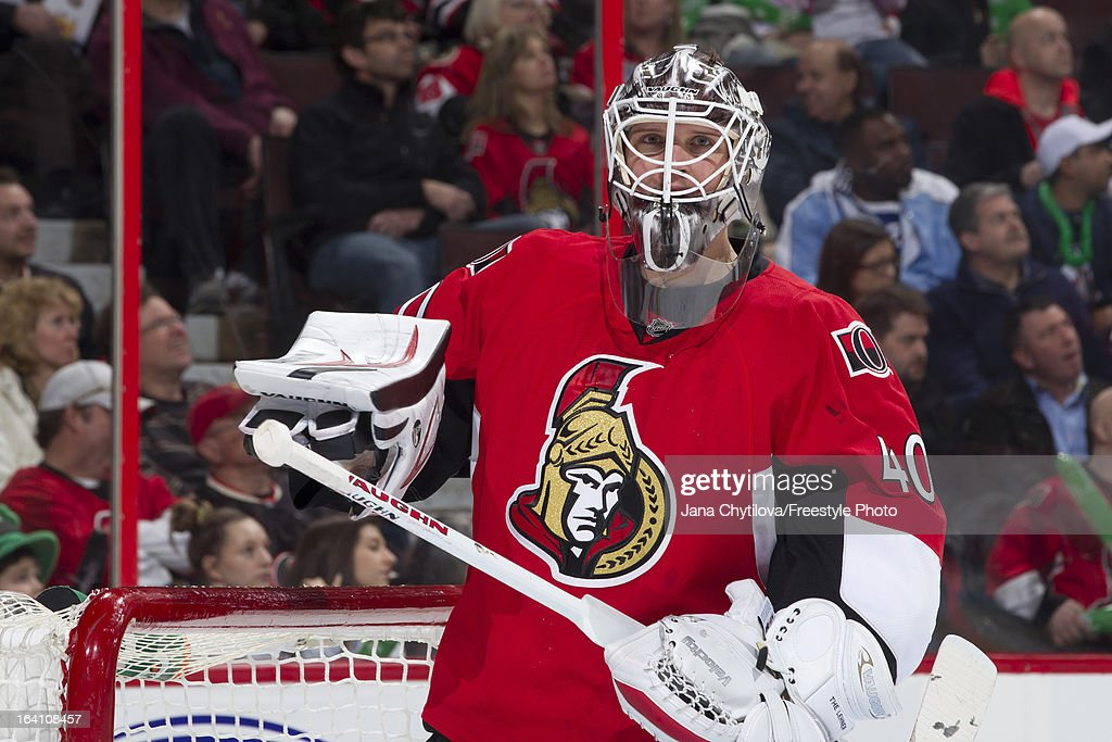 Robin Lehner #40 of the Ottawa Senators looks on during an NHL game against the Winnipeg Jets at Scotiabank Place on March 17, 2013 in Ottawa, Ontario, Canada.