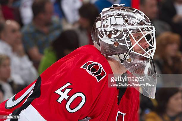Robin Lehner of the Ottawa Senators looks on during an NHL game against the Boston Bruins at Scotiabank Place on March 21 2013 in Ottawa Ontario...