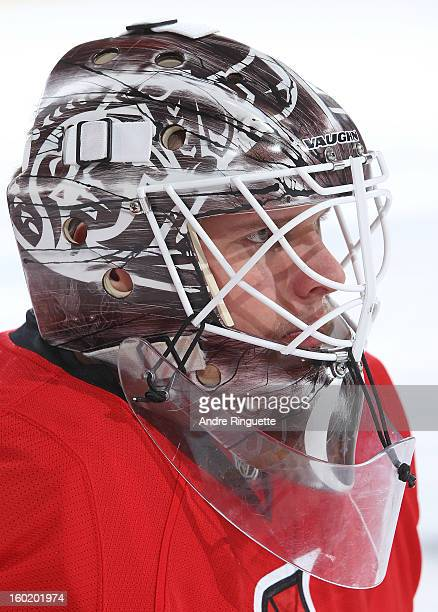 Robin Lehner of the Ottawa Senators looks on during warmups prior to a game against the Florida Panthers on January 21 2013 at Scotiabank Place in...