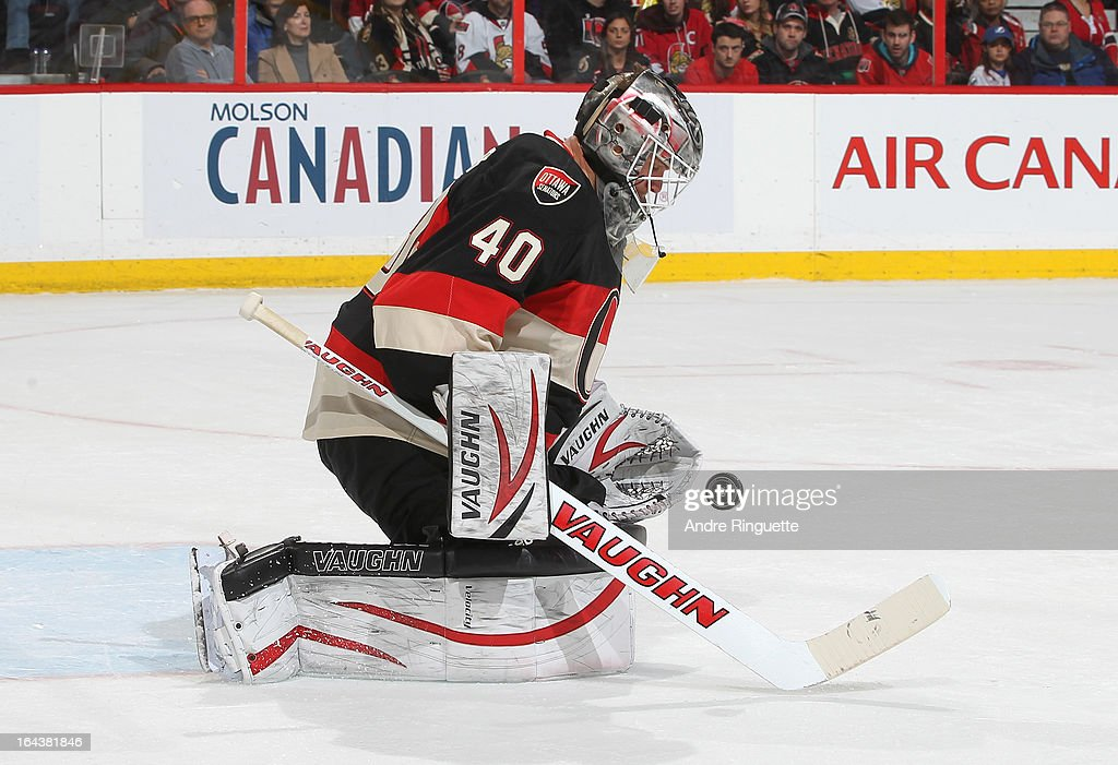 <a gi-track='captionPersonalityLinkClicked' href=/galleries/search?phrase=Robin+Lehner&family=editorial&specificpeople=5894610 ng-click='$event.stopPropagation()'>Robin Lehner</a> #40 of the Ottawa Senators makes a save against the Tampa Bay Lightning on March 23, 2013 at Scotiabank Place in Ottawa, Ontario, Canada.
