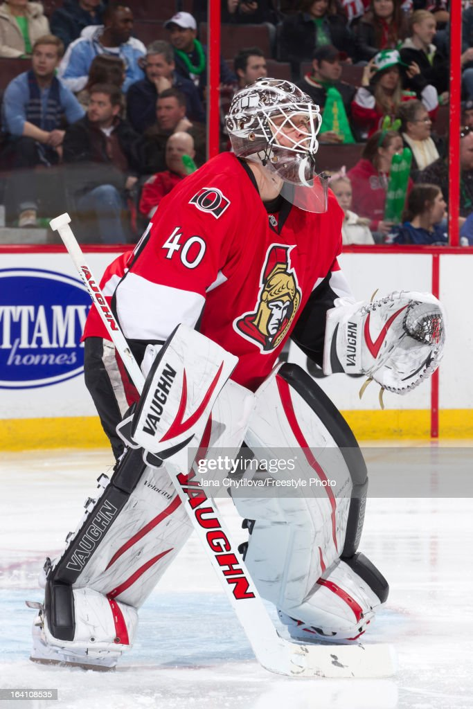 Robin Lehner of the Ottawa Senators tends the goal during an NHL game against the Winnipeg Jets at Scotiabank Place on March 17, 2013 in Ottawa, Ontario, Canada.