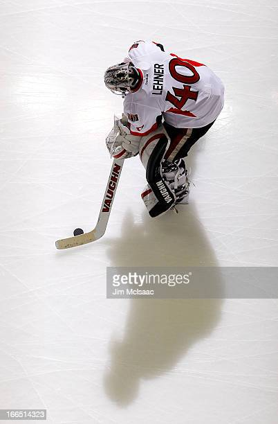 Robin Lehner of the Ottawa Senators warms up before a game against the New Jersey Devils at the Prudential Center on April 12 2013 in Newark New...