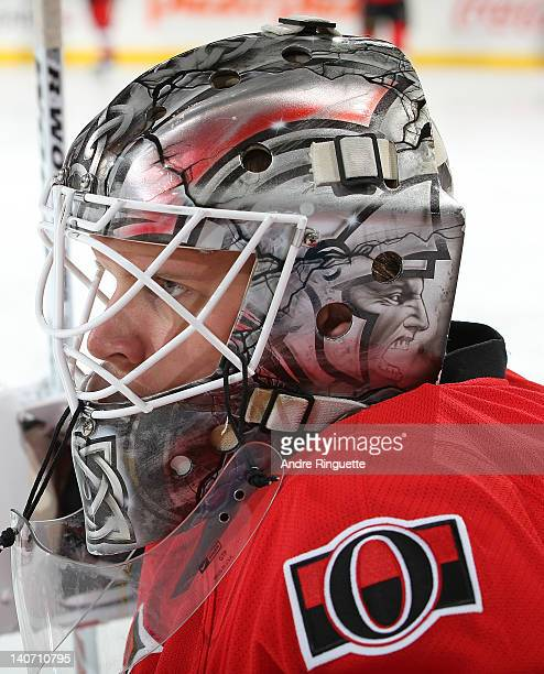 Robin Lehner of the Ottawa Senators warms up prior to a game against the New York Islanders at Scotiabank Place on February 26 2012 in Ottawa Ontario...