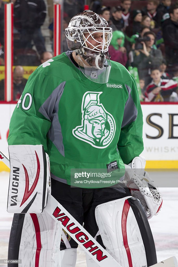 Robin Lehner #40 of the Ottawa Senators wears a green jersey to celebrate Saint Patrick's Day during warmups prior to an NHL game against the Winnipeg Jets at Scotiabank Place on March 17, 2013 in Ottawa, Ontario, Canada.
