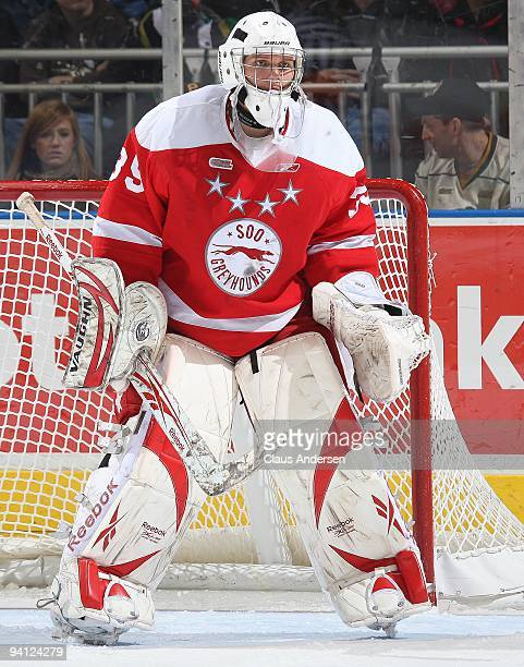 Robin Lehner of the Sault Ste Marie Greyhounds watches the play in a game against the London Knights on December 62009 at the John Labatt Centre in...