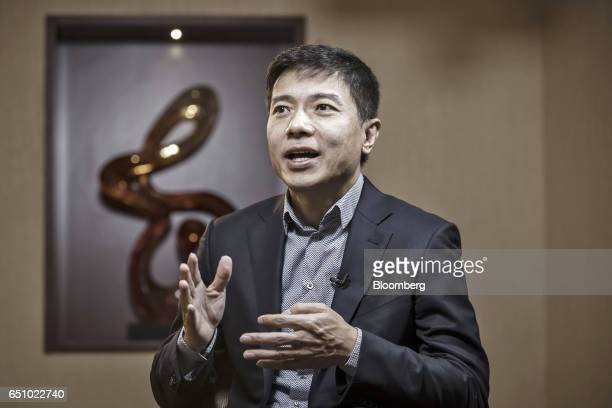Robin Li billionaire and chief executive officer of Baidu Inc speaks during a Bloomberg Television interview in Beijing China on Friday March 10 2017...